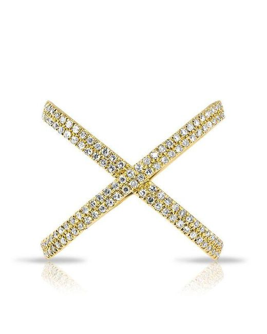 Anne Sisteron | Metallic 14kt Yellow Gold Diamond X Bandeau Ring | Lyst