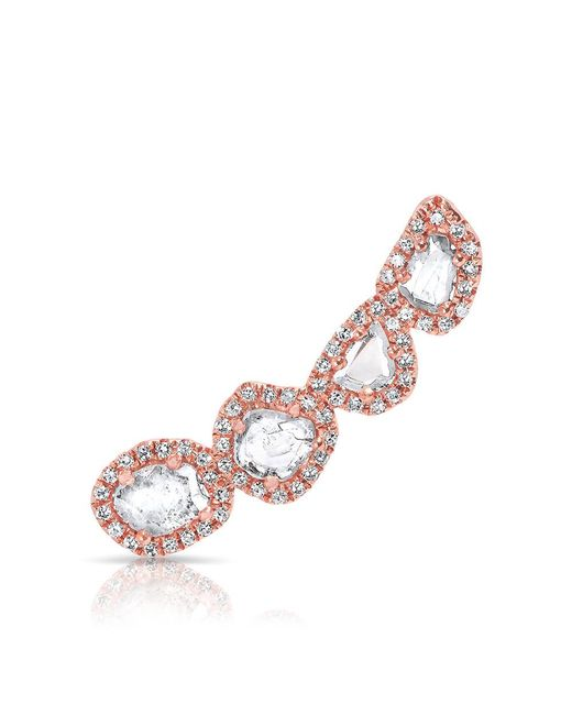 Anne Sisteron | Pink 14kt Rose Gold Diamond Slice Ear Climber | Lyst