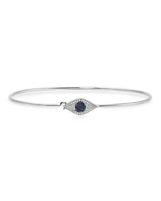 Anne Sisteron | Metallic 14kt White Gold Sapphire And Diamond Evil Eye Latch Bracelet | Lyst