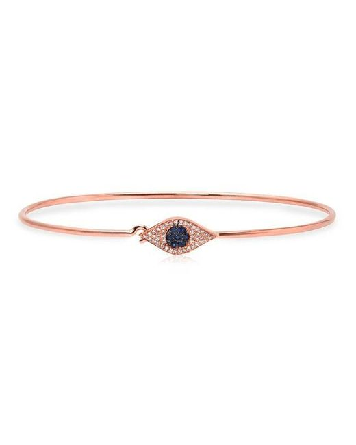 Anne Sisteron | Metallic 14kt Rose Gold Sapphire And Diamond Evil Eye Latch Bracelet | Lyst