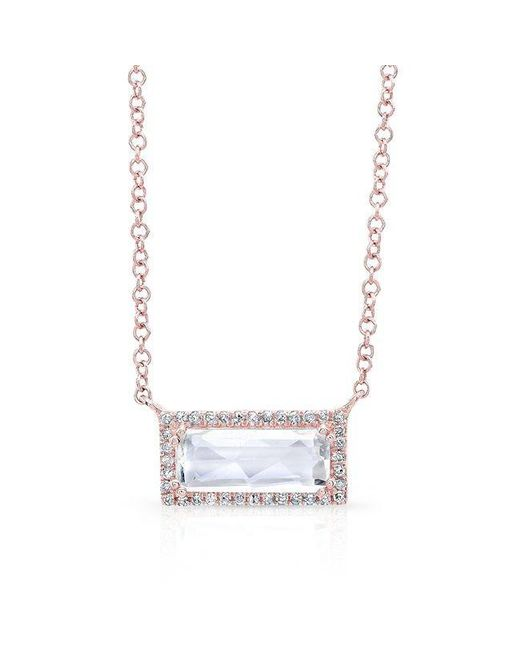 Anne Sisteron | Metallic 14kt Rose Gold Rectangle White Topaz Diamond Necklace | Lyst