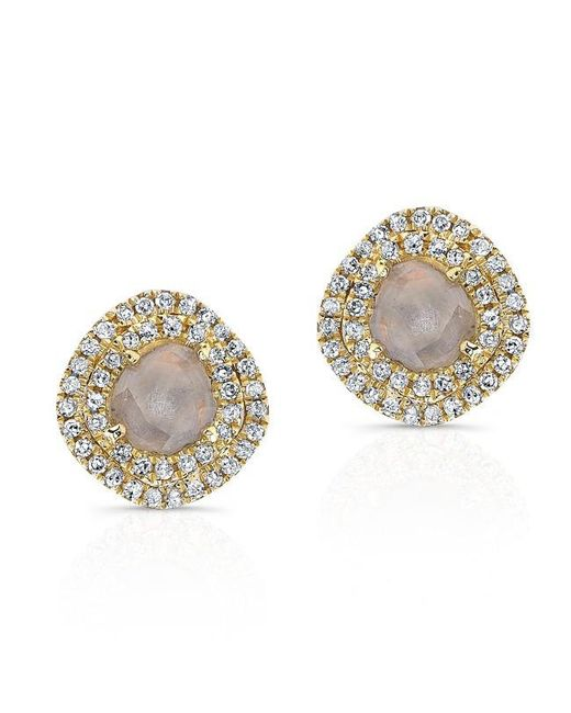 Anne Sisteron | Metallic 14kt Yellow Gold Diamond Slice Double Halo Stud Earrings | Lyst