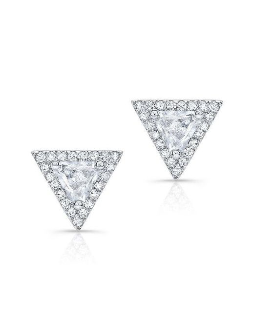 Anne Sisteron | 14kt White Gold White Topaz Triangle Diamond Stud Earrings | Lyst