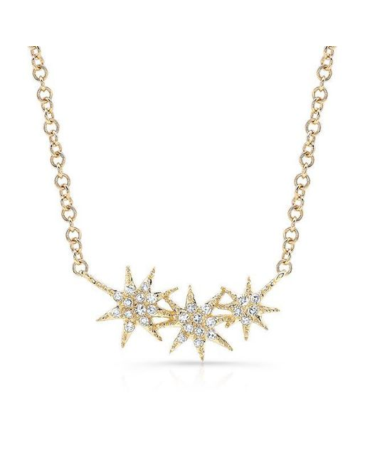 Anne Sisteron | Metallic 14kt Yellow Gold Diamond Triple Starburst Necklace | Lyst