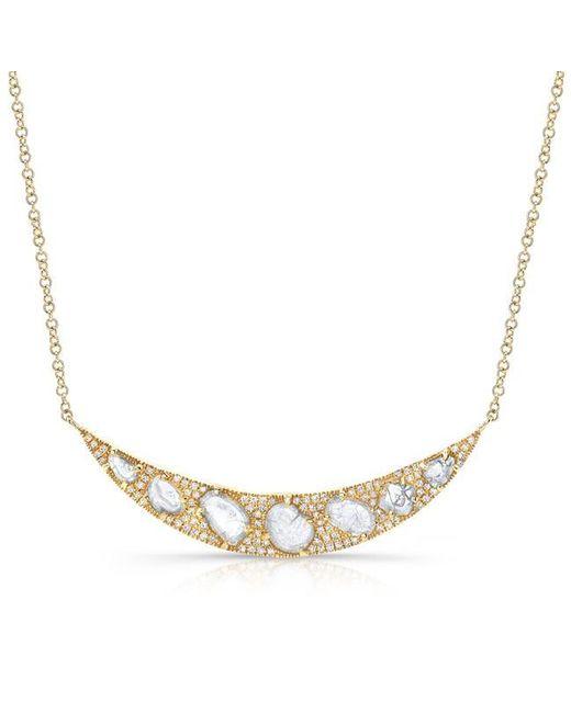 Anne Sisteron | Metallic 14kt Yellow Gold Diamond Slice Crescent Necklace | Lyst