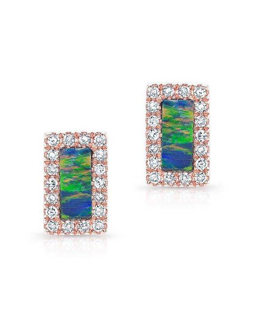Anne Sisteron   Multicolor 14kt Rose Gold Opal Diamond Bar Stud Earrings   Lyst