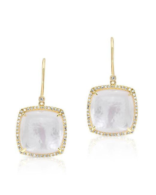Anne Sisteron | Metallic 14kt Yellow Gold Diamond Mother Of Pearl Cushion Cut Earrings | Lyst