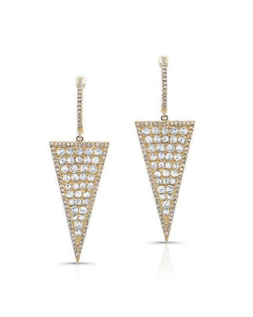 Anne Sisteron | Metallic 14kt Yellow Gold Diamond Slice Triangle Earrings | Lyst