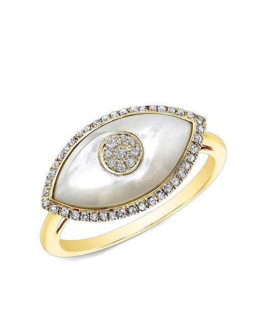Anne Sisteron - Multicolor 14kt Rose Gold White Mother Of Pearl Diamond Evil Eye Ring - Lyst