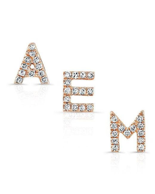 Anne Sisteron   Multicolor 14kt Rose Gold Diamond Initial Stud Earring   Lyst