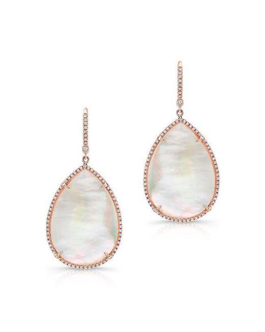 Anne Sisteron   Metallic 14kt Yellow Gold Mother Of Pearl Diamond Pear Earrings   Lyst