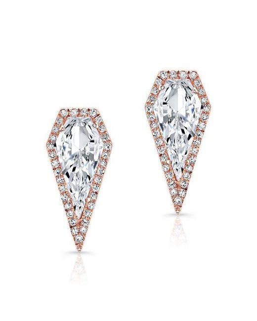 Anne Sisteron   Multicolor 14kt Rose Gold White Topaz Diamond Shield Earrings   Lyst