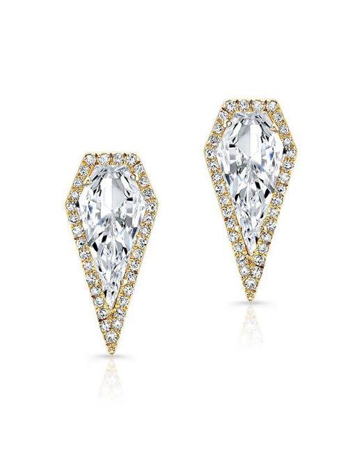 Anne Sisteron | Metallic 14kt Yellow Gold White Topaz Diamond Shield Earrings | Lyst
