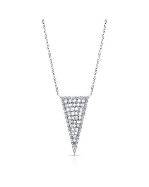 Anne Sisteron   Metallic 14kt White Gold Diamond Slice Triangle Necklace   Lyst