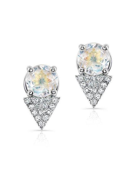 Anne Sisteron | Metallic 14kt White Gold Moonstone Diamond Maddie Stud Earrings | Lyst