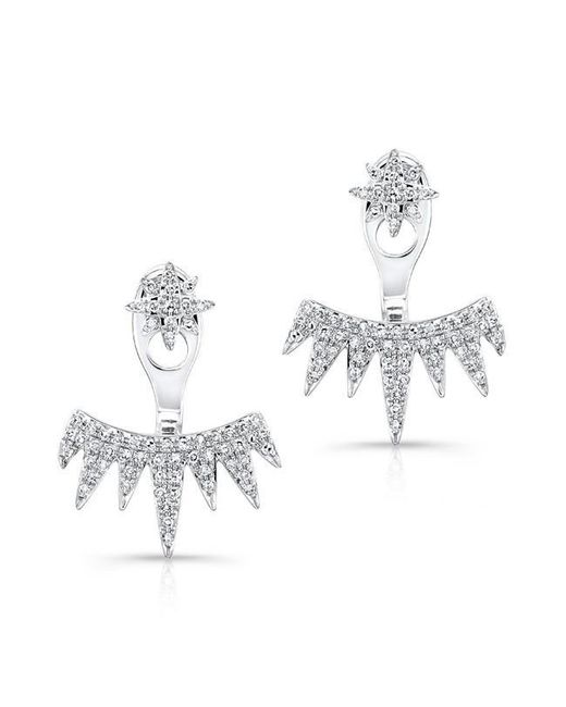 Anne Sisteron | Metallic 14kt White Gold Diamond Spiked Tiara Floating Earrings | Lyst