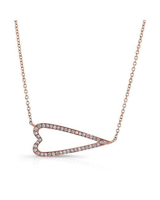 Anne Sisteron | Metallic 14kt Rose Gold Diamond Sideways Heart Necklace | Lyst