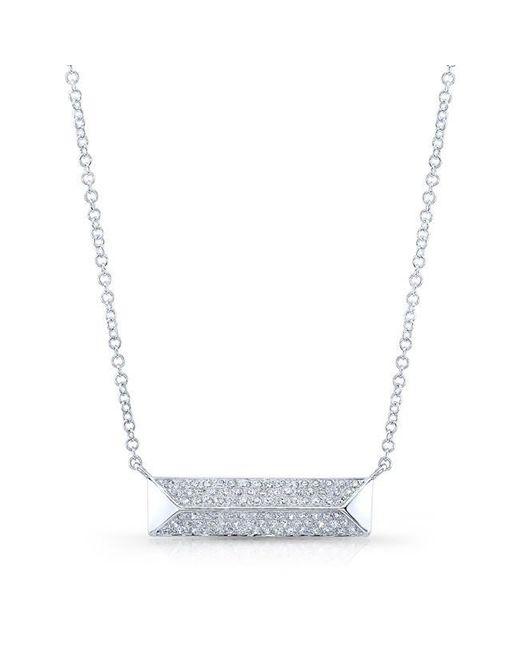 Anne Sisteron | Metallic 14kt White Gold Diamond Pyramid Bar Necklace | Lyst