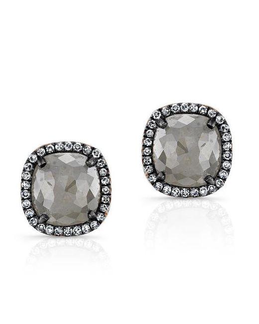 Anne Sisteron | Metallic 14kt Oxidized Rose Gold Diamond And Raw Diamond Stud Earrings | Lyst