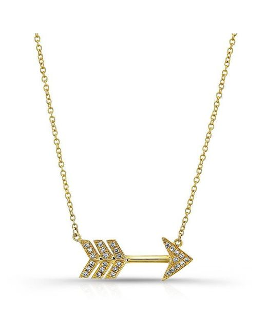Anne Sisteron | Metallic 14kt Yellow Gold Diamond Large Arrow Necklace | Lyst
