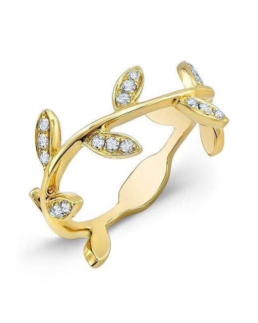 Anne Sisteron | Metallic 14kt Yellow Gold Diamond Leaf Knuckle Ring | Lyst