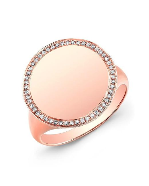 Anne Sisteron | Pink 14kt Rose Gold Diamond Solid Circle Ring | Lyst
