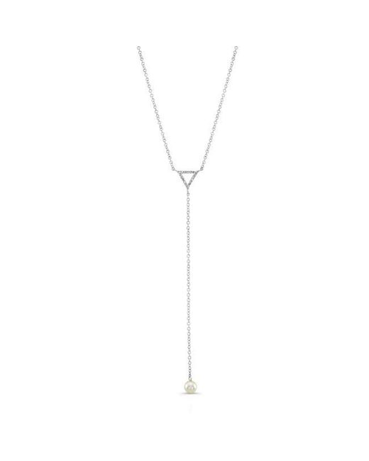 Anne Sisteron   Metallic 14kt White Gold Diamond And Pearl Lariat Necklace   Lyst