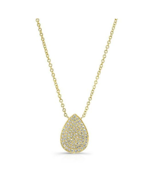 Anne Sisteron | Metallic 14kt Yellow Gold Diamond Medium Pear Shaped Necklace | Lyst