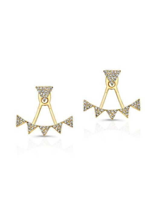 Anne Sisteron   Metallic 14kt Yellow Gold Diamond Triangle Tiara Floating Earrings   Lyst