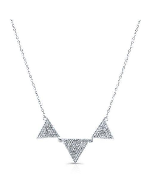 Anne Sisteron   Metallic 14kt White Gold Diamond Triple Triangle Necklace   Lyst