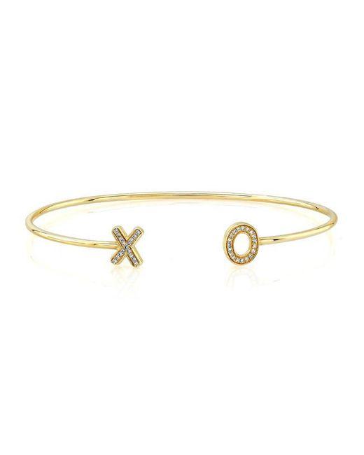 Anne Sisteron | Metallic 14kt Yellow Gold Diamond Xo Cuff | Lyst