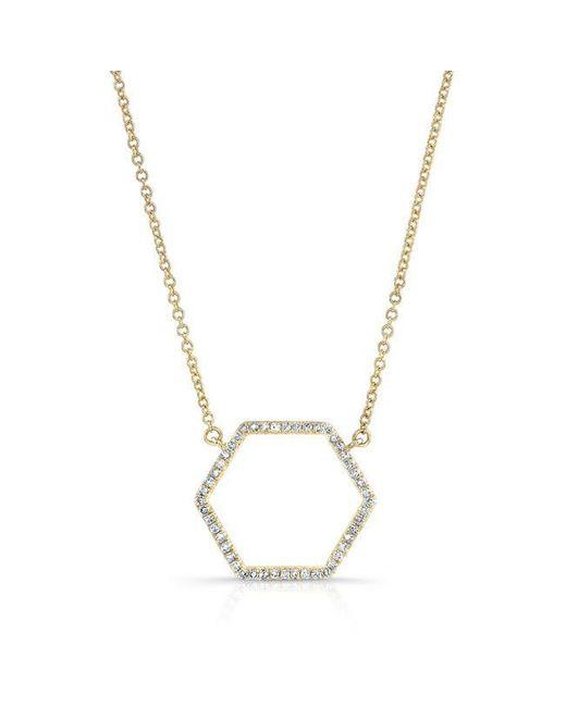 Anne Sisteron | Metallic 14kt Yellow Gold Diamond Hexagon Shaped Necklace | Lyst