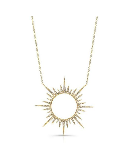 Anne Sisteron | Metallic 14kt Yellow Gold Diamond Open Sunburst Necklace | Lyst