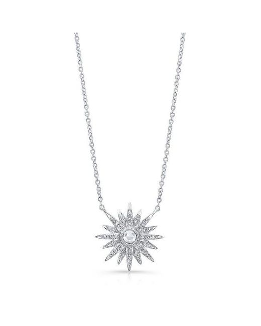 Anne Sisteron | Metallic 14kt White Gold Diamond Vintage Style Starburst Necklace | Lyst