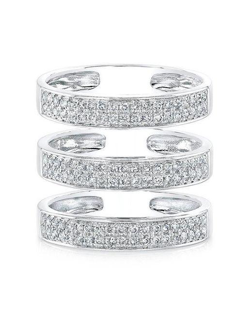 Anne Sisteron | Metallic 14kt White Gold Diamond Large Triple Bar Ring | Lyst