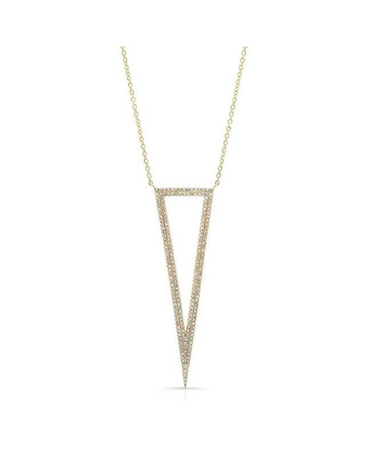 Anne Sisteron | Metallic 14kt Yellow Gold Diamond Open Triangle Necklace | Lyst