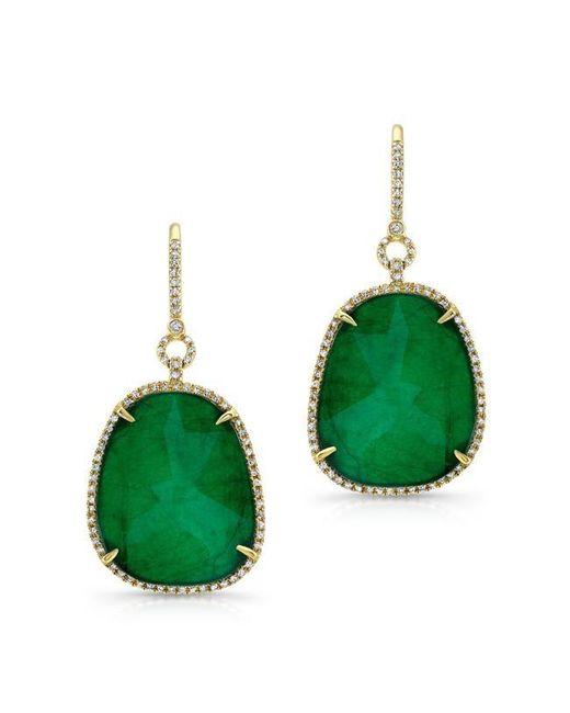 Anne Sisteron | Green 14kt Yellow Gold Emerald Diamond Earrings | Lyst