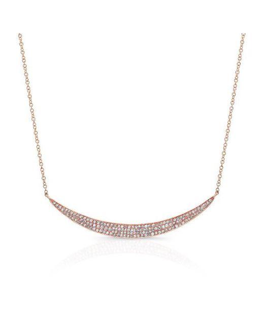 Anne Sisteron | Metallic 14kt Rose Gold Diamond Wide Crescent Necklace | Lyst
