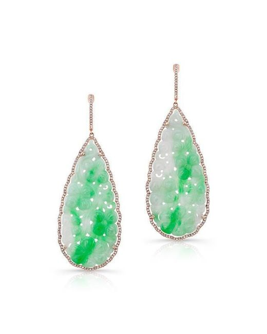Anne Sisteron | Green 14kt Rose Gold Carved Jade And Diamond Earrings | Lyst