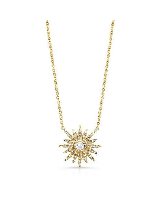 Anne Sisteron   Metallic 14kt Yellow Gold Diamond Vintage Style Starburst Necklace   Lyst