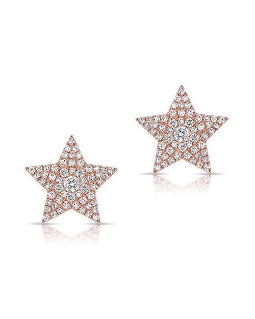 Anne Sisteron - Pink 14kt Rose Gold Diamond Star Stud Earrings - Lyst