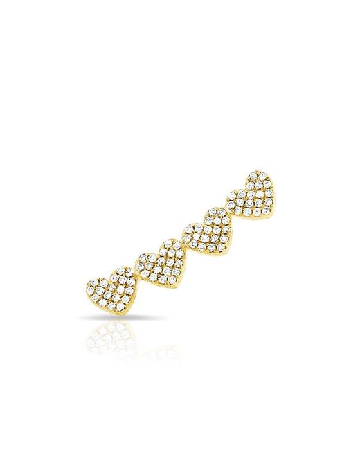 Anne Sisteron - Metallic 14kt Yellow Gold Diamond Row Of Hearts Climber - Lyst