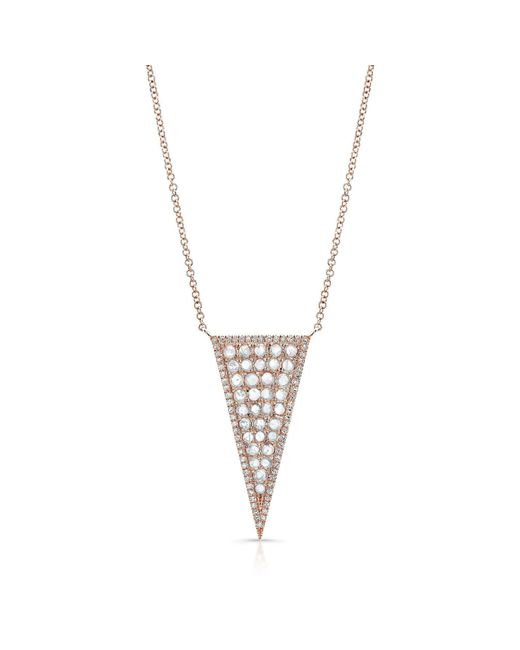 Anne Sisteron - Metallic 14kt Rose Gold Diamond Slice Triangle Necklace - Lyst