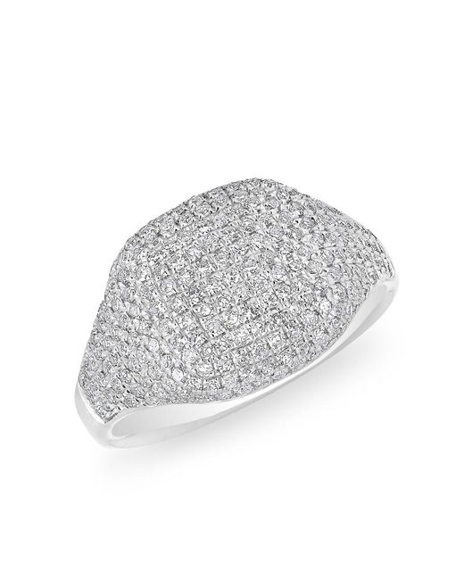 Anne Sisteron   Metallic 14kt White Gold Diamond Cushion Pinkie Ring   Lyst