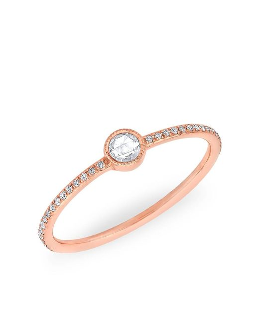 Anne Sisteron | Metallic 14kt Rose Gold Diamond Solitaire Ring | Lyst