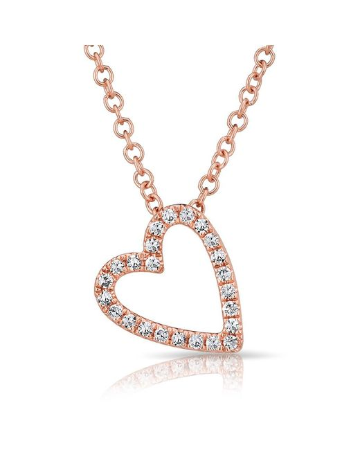 Anne Sisteron | Metallic 14kt Rose Gold Diamond Open Heart Necklace | Lyst