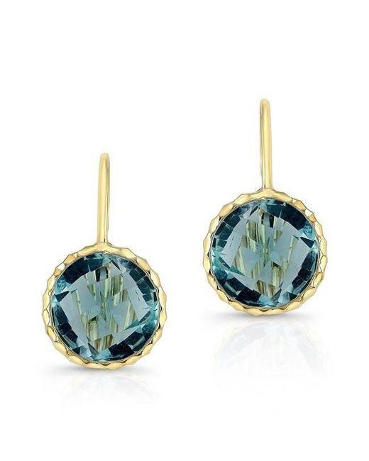 Anne Sisteron - 14kt Yellow Gold Blue Topaz Earrings - Lyst