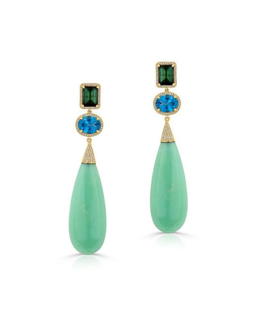 Anne Sisteron - 14kt Yellow Gold Chrysoprase Tourmaline Blue Topaz Diamond Drop Earrings - Lyst