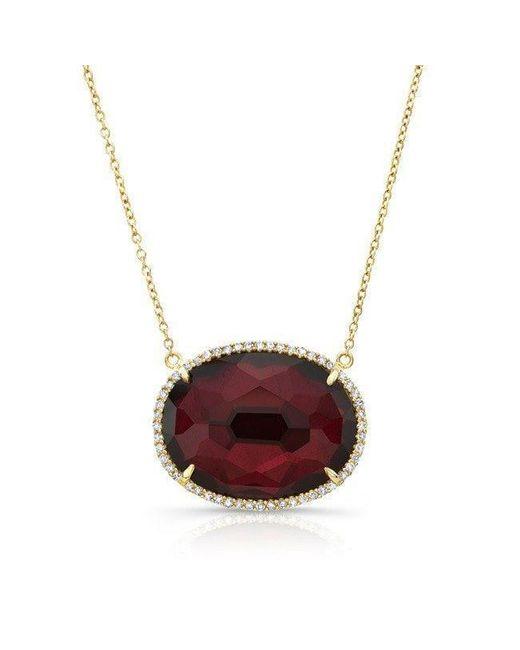 Anne Sisteron - Purple 14kt Yellow Gold Diamond Oval Garnet Necklace - Lyst