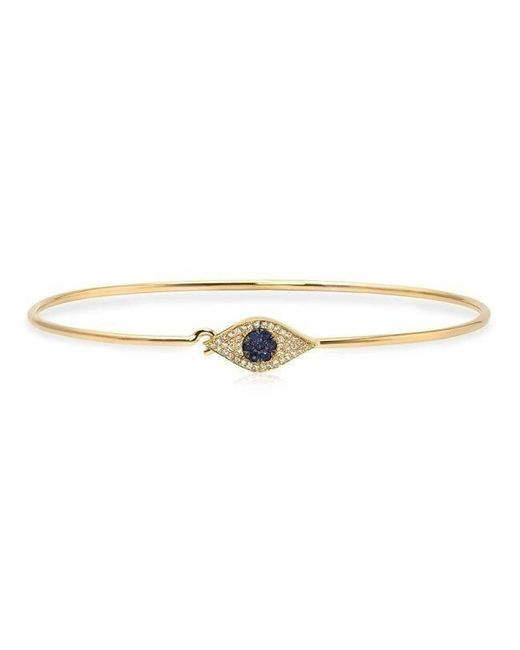 Anne Sisteron - Metallic 14kt Yellow Gold Sapphire And Diamond Evil Eye Latch Bracelet - Lyst